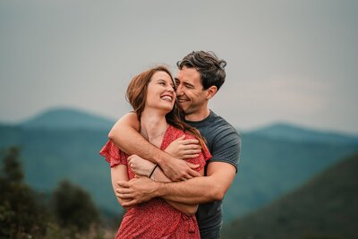 north carolina engaged couple by asheville for photos
