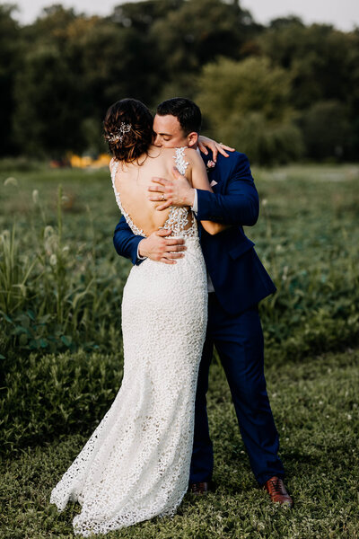 bride and groom romantic hug