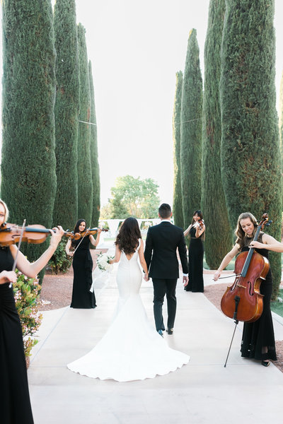 bride and groom walking down a path lined with tall topiaries while a string quartet lines up to serenade their entrance