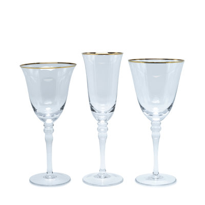 The Event Merchant Company Gold Rim Glassware Set