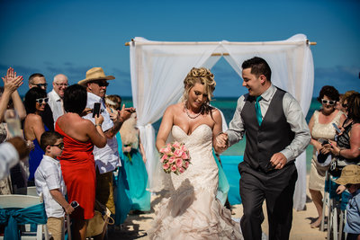 Bride and groom at ceremony in Dominican Republic