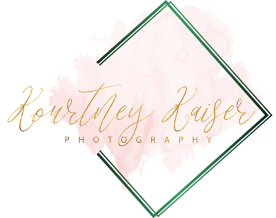 Central Florida wedding photographer, Kourtney Kaiser Photography, LLC blush, gold, emerald green logo