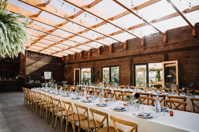 Wedding Reception Barn Bistro Lights Long Tables Arnold House Livingston Manor Wedding Catskills Wedding Planner Canvas Weddings