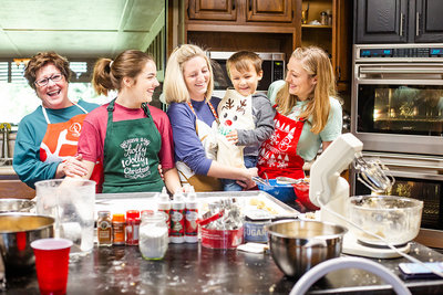 A family bakes Christmas cookies together in their home in Wauchula, Florida.