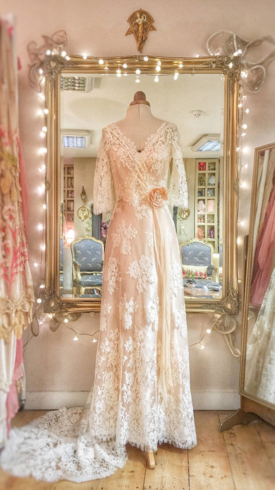Langtry_ivory_blush_lace_vintage_style_wedding_dress_JoanneFlemingDesign