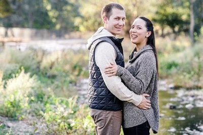 Couple embracing during photo session by Livermore photographer