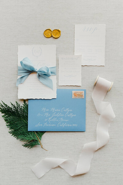 Yosemite national park wedding deckled edge french blue invitation 5