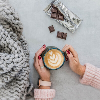 chocolate and coffee flat lay photography by food photographer, nancy ingersoll