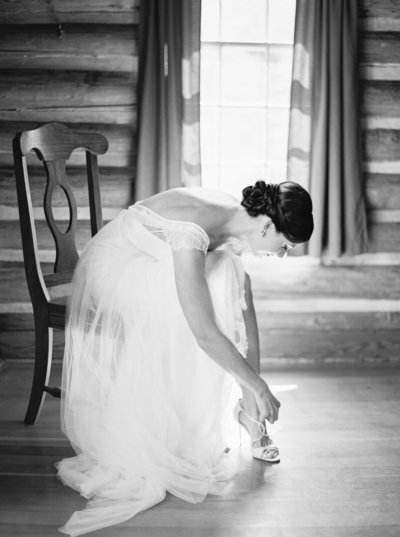 Bride getting ready at 320 Ranch in Big Sky, Montana