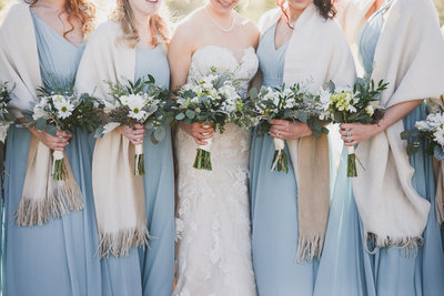 Blue bridesmaids dress, Colorado wedding photographer