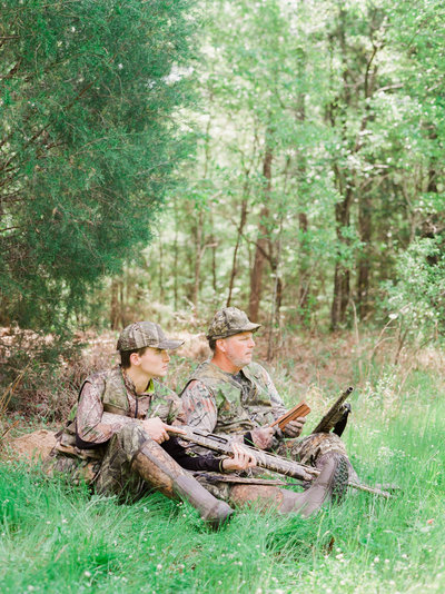 Dad and Son turkey hunting