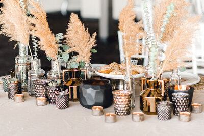 boho candles and decor tablescape