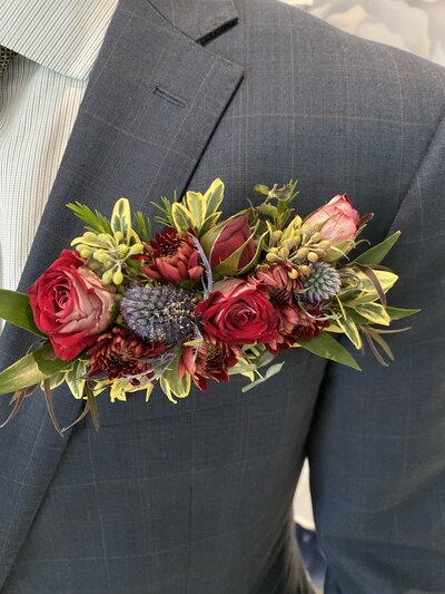 ROSE ERYNGIUM FLORAL POCKET SQUARE