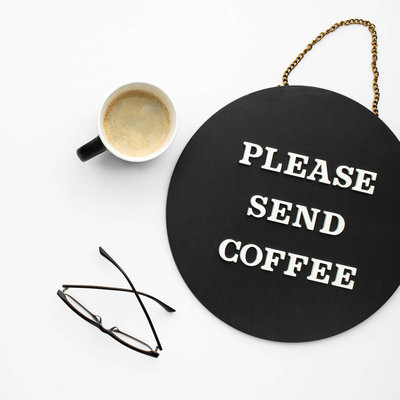 please send coffee black and white