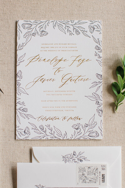 Hand Drawn Wedding Invitations with Flower Sketches