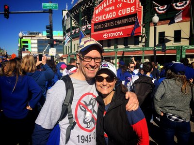 Angela Garbot at the Chicago Cubs game, World Series Champions