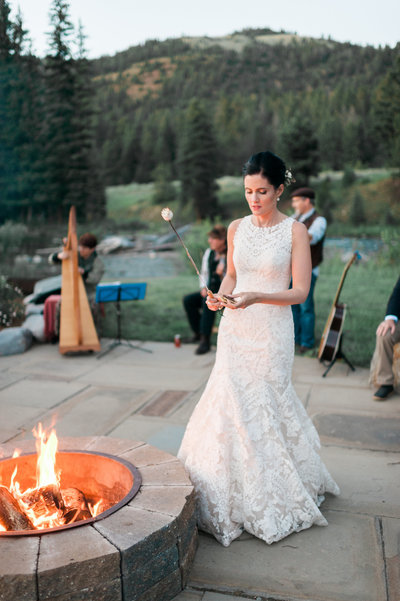 Fire pit at Rainbow Ranch Wedding in Big Sky Montana