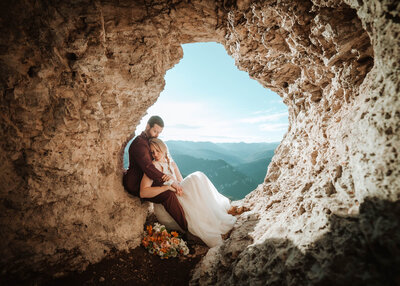 Adventure wedding on top of a mountain in Montana backcountry.