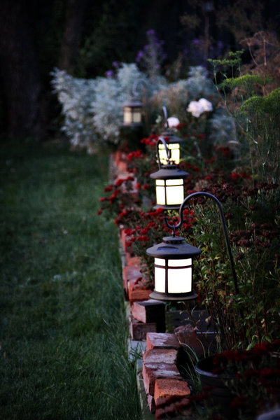 Garden lanterns in a row