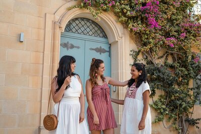 Three female friends hanging out in Malta