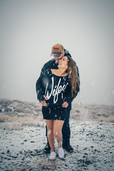 Man and Wifey snuggling in the snow