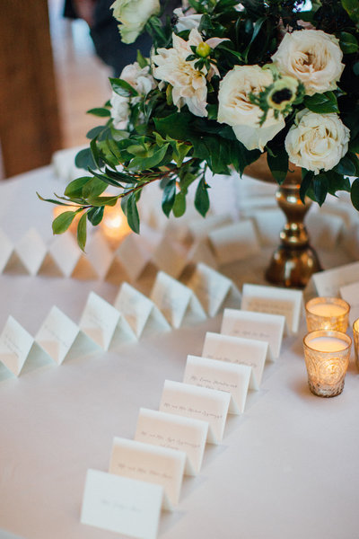 Escort card table floral arrangement
