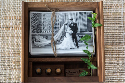 Wooden keepsake wedding box with custom made USB drive.