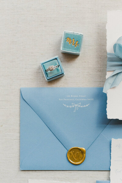 Yosemite national park wedding deckled edge french blue invitation 9