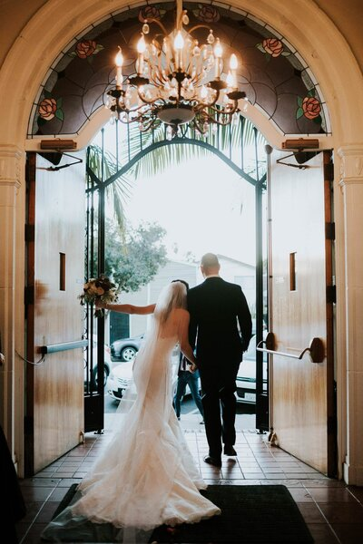Bride and groom exit their wedding ceremony