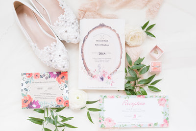 Wedding invitation and details.