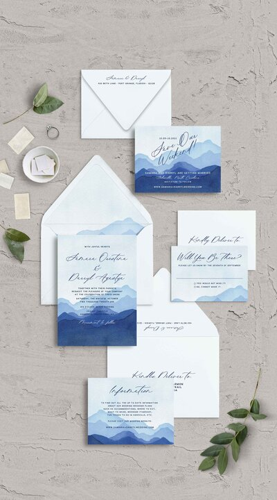 Watercolor Blue Ridge Mountain Wedding Invitations