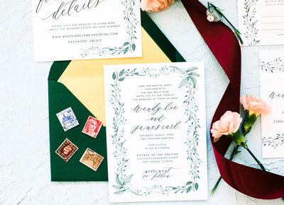 Hand Painted Watercolor Greenery Wedding Invitations