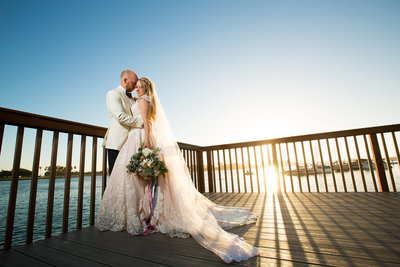 Romantic wedding photo at Paradise Point in San Diego