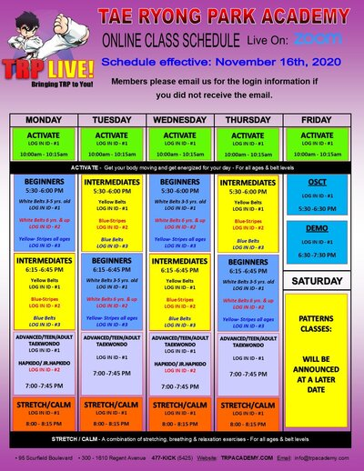 tae kwon do schedule