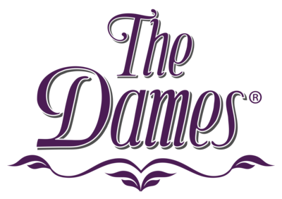 The Dames Logo Registered Purple Grey Vertical