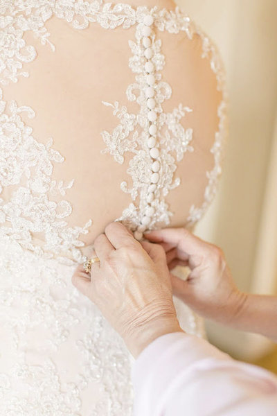 Button Details on plus sized wedding dress