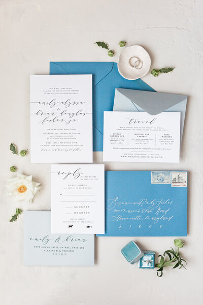 simple blue wedding invitation set