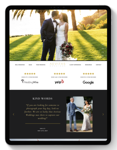 Aevitas Weddings Website After Transformation