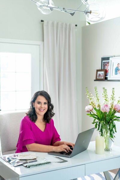 Personal branding photo of interior designer Lacy Garcia at her home office