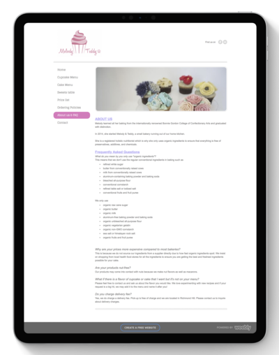 M Cake Design Website Before Transformation