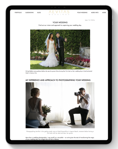 Aevitas Weddings Website Before Transformation