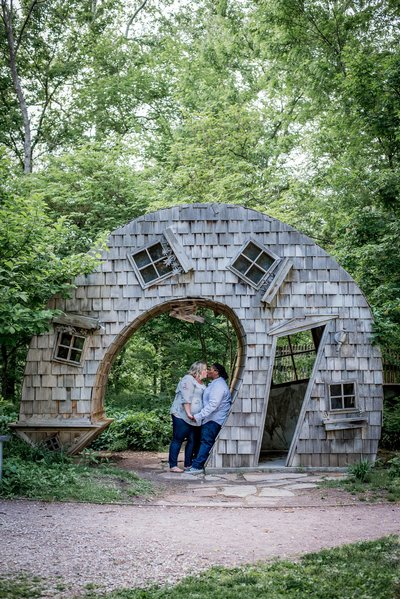 100 Acres Engagement Photo Stairs Rustic