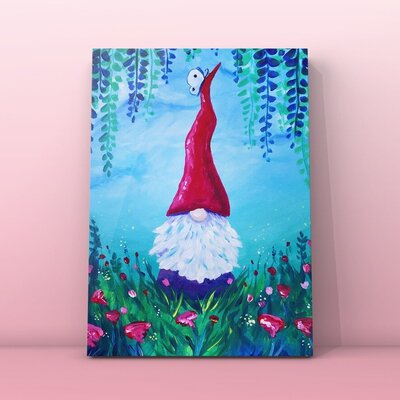easy Beginner Acrylic Painting Gnome.