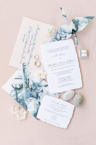Cream and blush wedding invitations with indigo calligraphy and a dip-dyed indigo vellum envelope for a Charleston wedding