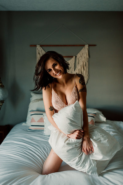 boudoir photography portrait  with pillow
