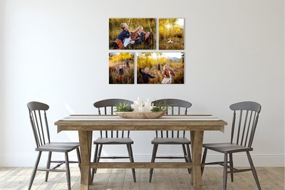 Dining table with family canvas printed on the wall