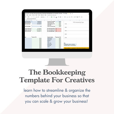 bookkeeping template for creatives for dolly delong education shop
