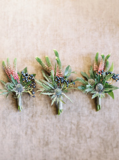 Thistle Buttonholes for Cromlix Hotel Wedding in Scotland