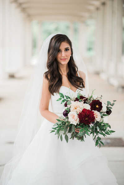 muny bridal portrait with rose  and mint florals
