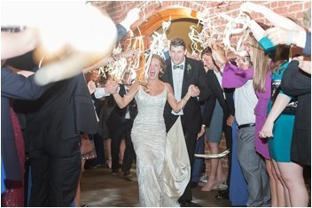 sparkler exit from wedding at the Old Cigar Warehouse